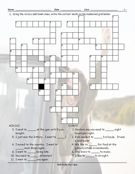 Infinitives Crossword Puzzle