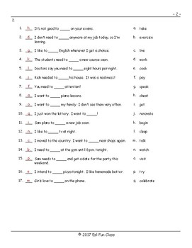 Infinitives Matching Exam