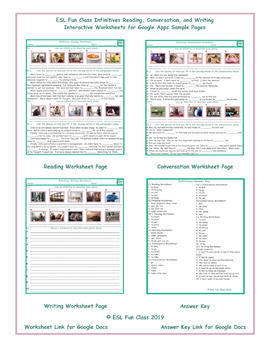 Infinitives Read-Converse-Write Interactive Worksheets for Google Apps