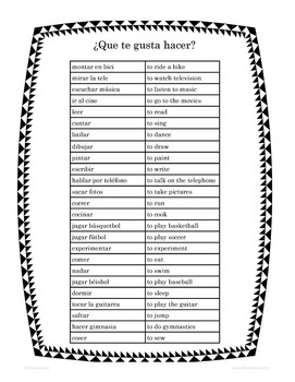 Spanish Get-to-Know-You Infinitives BINGO ¿Que te gusta Hacer?