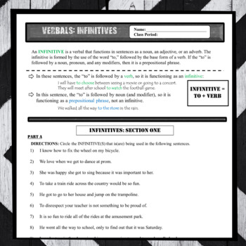 Infinitives Worksheets: Verbals Definition and Writing Practice