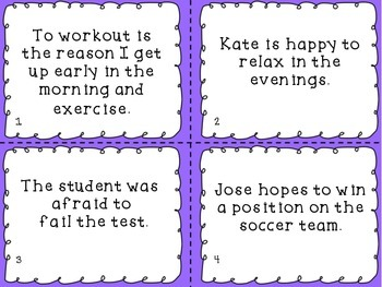 Infinitives and Their Functions Task Cards - Common Core aligned