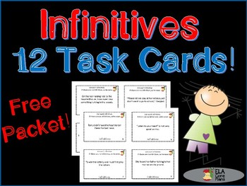 Infinitives and Infinitive Phrases Task Cards Free Packet