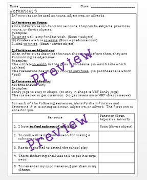 Infinitives and Their Functions - a Common Core verbals worksheet