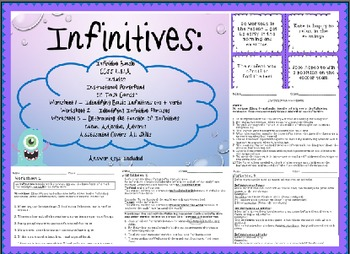 Infinitives & Their Functions Complete Instructional Bundle-Common Core