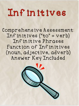 Infinitives and their Functions Assessment - Common Core aligned
