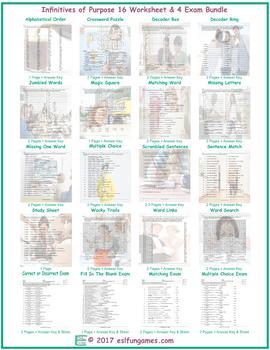 Infinitives of Purpose 16 Worksheet- 4 Exam Bundle