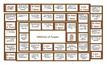 Infinitives of Purpose Legal Size Text Board Game
