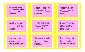 Infinitives of Purpose Cards