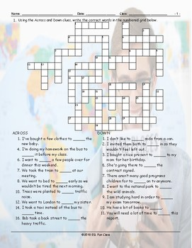 Infinitives of Purpose Crossword Puzzle