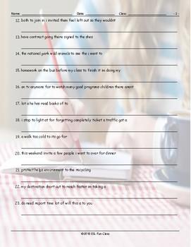 Infinitives of Purpose Scrambled Sentences Worksheet