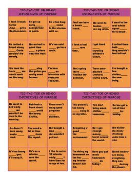 Infinitives of Purpose Tic-Tac-Toe or Bingo