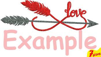 Infinity Love Embroidery Design 4x4 5x7 hoop Arrows Arrow Feather 120b