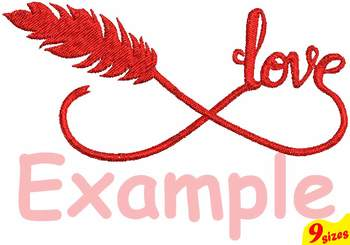 Infinity Love Embroidery Design 4x4 5x7 hoop Love Valentine  Feather 123b