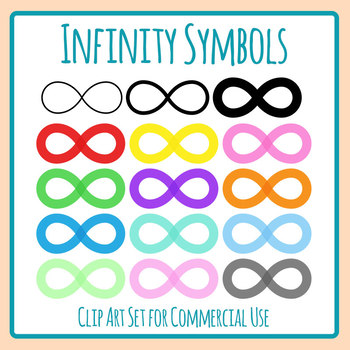 Infinity Symbols in Various Colors Clip Art Set for Commercial Use