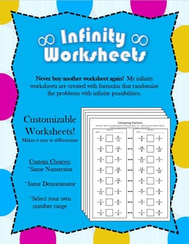 Infinity Worksheet: Comparing Fractions