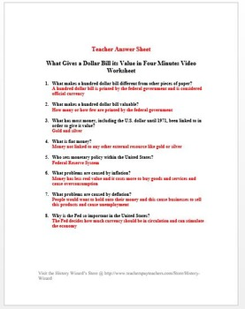 Inflation: What Gives a Dollar Bill its Value in Four Minutes Video Worksheet