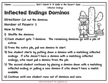 Inflected Ending Word Study Packet: A Walk in the Desert Reading Street Resource