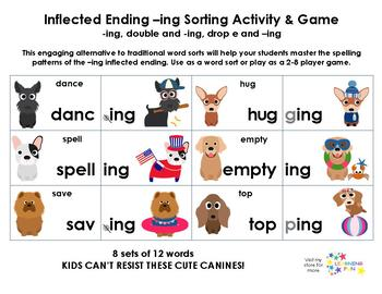 Inflected Ending -ing Sorting Activity and Game