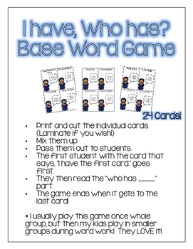 Inflected Endings - Base Words with ed/ing - Winter Themed