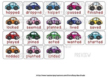 "Inflected Endings Word Sort (Pronouncing ""-ed"" endings)"