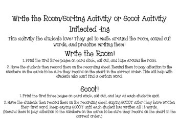 Inflected -ing write the room/scoot activity