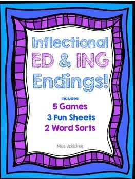 Inflectional 'ED' 'ING' Endings {Games, Word Sorts, Fun Sheets}