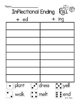 Inflectional Ending Roll ed  ing Verbs Literacy Center Worksheets