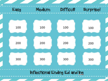 Inflectional Ending (ed, ing) Jeopardy