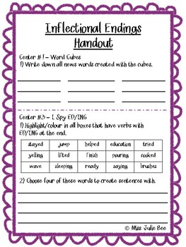 Inflectional Endings Centers (ed & ing)