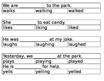 Inflectional Endings Clip Cards