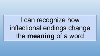 Inflectional Endings Introductory Lesson