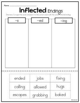 Inflectional Endings {No Prep Printables}