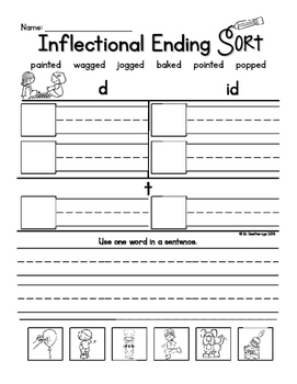 Inflectional Endings Word Sorts Practice Different Sounds of ED Literacy Centers