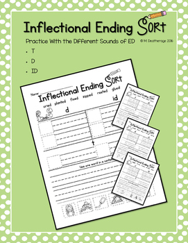 Inflectional Endings Word Sort Sounds of ED Worksheets