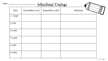 Inflectional Endings Word Work