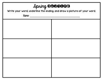 Inflectional Endings Word Work: Spring Sorting