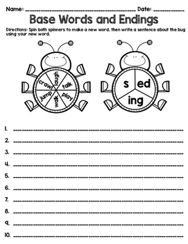 Inflectional Endings Worksheet