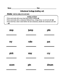 Inflectional Endings Worksheets (Adding -ed and -ing)