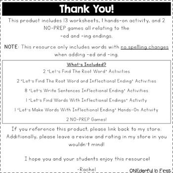 Inflectional Endings (-ed and -ing) - Worksheets, Hands-On Activity, and Games