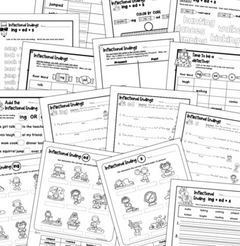Inflectional Endings -ing -ed -s Worksheets, Poster, and Activity
