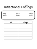 Inflectional Endings -s, -ing