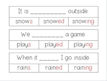Inflectional Word Endings Clip Cards, Worksheets, and Posters
