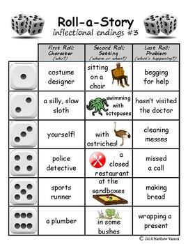 Inflectional endings Roll-A-Story