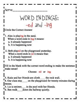 Inflectional word endings: ed & ing