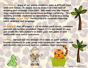 Verb Tense & Inflections - It's a Jungle