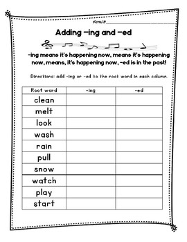 Inflections - adding -ing and -ed