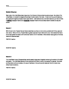 Influence of the Media Worksheet