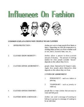 Influences On Fashion Lesson