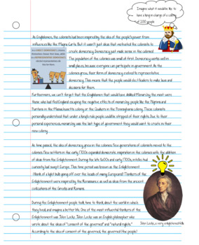 Influences on Democracy in the Colonies Notebook Style Reading